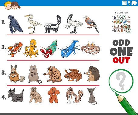 odd one out picture task with cartoon characters