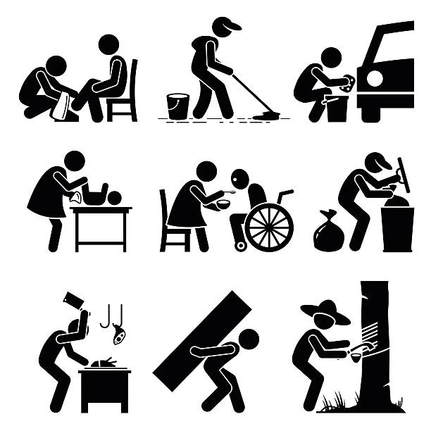 odd tough difficult jobs illustrations - old man stick figure silhouette stock illustrations, clip art, cartoons, & icons