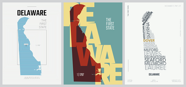 1 of 50 sets, US State Posters with name and Information in 3 Design Styles, Detailed vector art print Delaware map