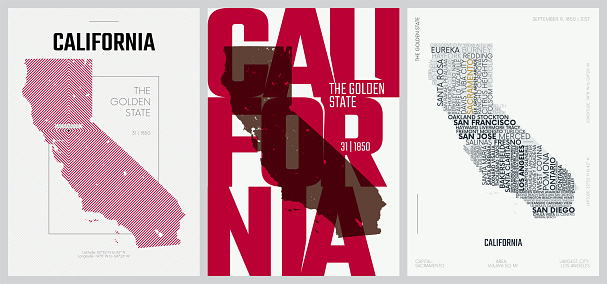 31 of 50 sets, US State Posters with name and Information in 3 Design Styles, Detailed vector art print California map