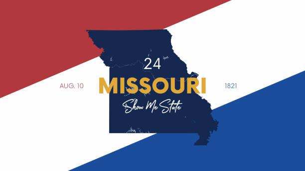 24 из 50 штатов соединенных штатов с именем, прозвищем и датой допущены в союз, подробная карта вектор миссури для печати плакатов, открыток и  - missouri stock illustrations