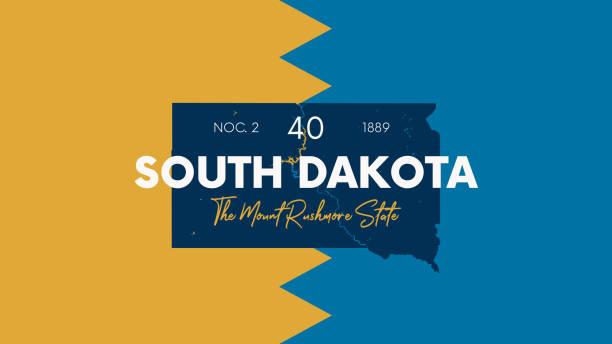 ilustraciones, imágenes clip art, dibujos animados e iconos de stock de 40 de los 50 estados de los estados unidos con un nombre, apodo y fecha admitidos en la unión, mapa detallado de vector south dakota para imprimir carteles, postales y camisetas - mount rushmore