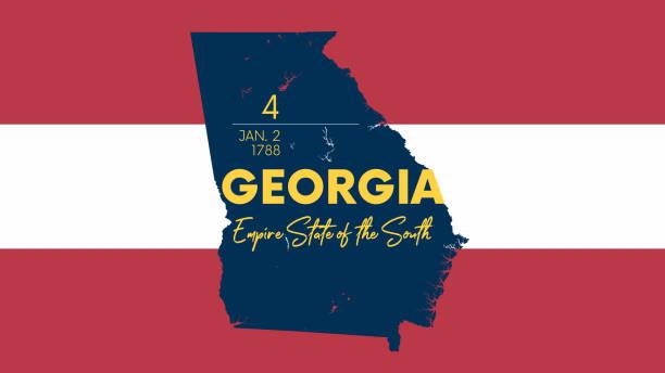 stockillustraties, clipart, cartoons en iconen met 4 van 50 staten van de verenigde staten met een naam, bijnaam en datum toegelaten tot de unie, gedetailleerde vector georgië kaart voor het afdrukken van posters, ansichtkaarten en t-shirts - zuidoost