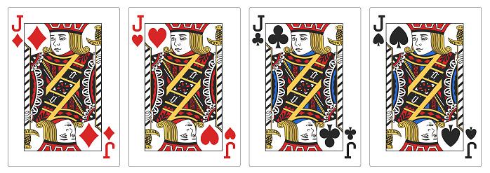 4 of a kind Jacks poker playing card