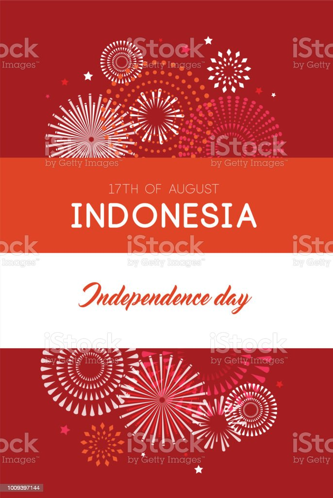 17 of August on firework background. poster and bannerfor celebrate the national day of Indonesia. Indonesia Happy Independence Day greeting card . vector illustration vector art illustration