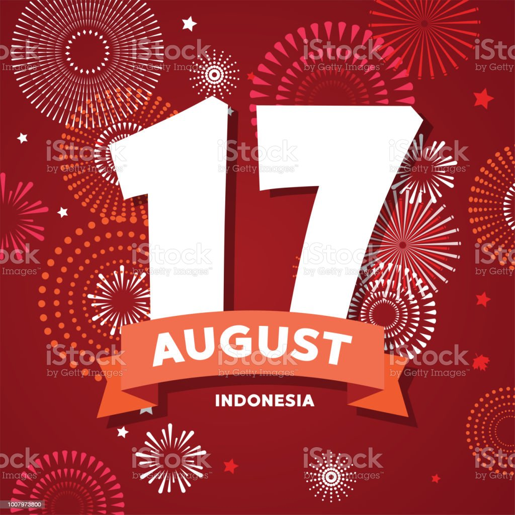 17 of August on firework background. poster for celebrate the national day of Indonesia. Indonesia Happy Independence Day greeting card . vector illustration vector art illustration