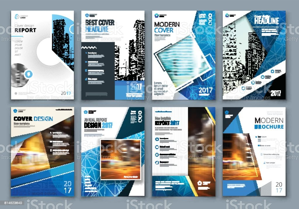 SET of business template for brochure, report, catalog, magazine, book, booklet layout with modern elements and abstract background. Creative vector concept vector art illustration
