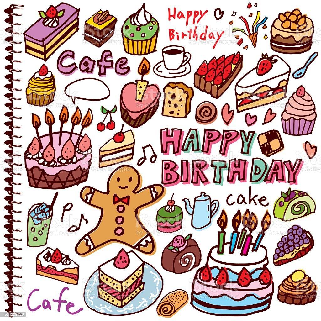 かわいいの手書き文字のケーキイラスト お祝いのベクターアート素材や