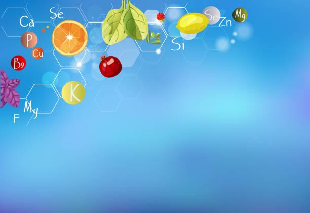 stockillustraties, clipart, cartoons en iconen met abc van gezondheid/een verstrooiing van vitaminen. - spoorelement