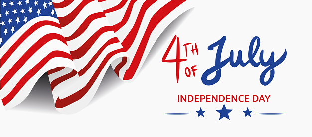 4TH of July Banner, vector USA flag