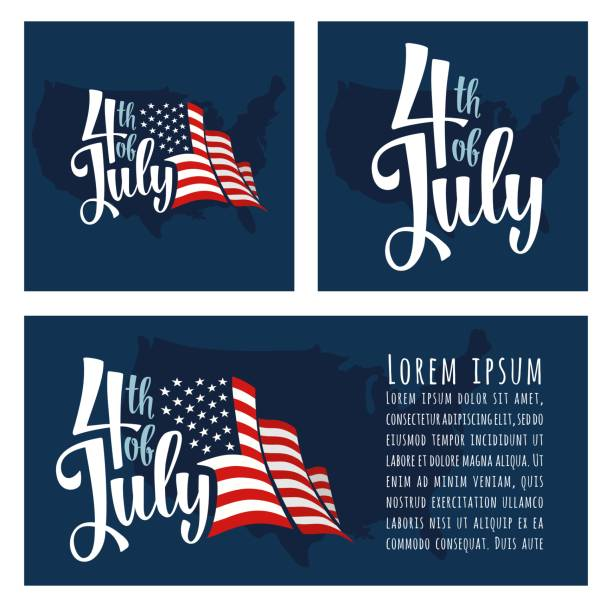 4 of july hand lettering inscription with map and flag usa - july 4th stock illustrations