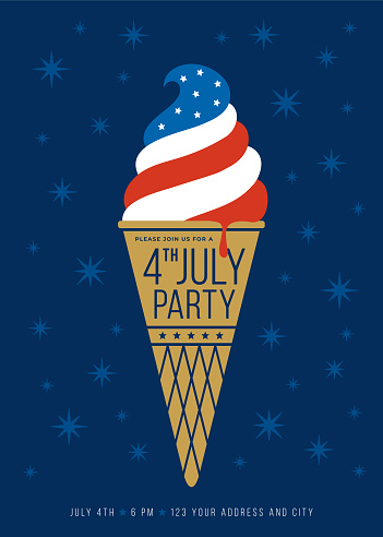 4TH of JULY PARTY invitation with ice-cream background. Poster, card, banner and background. Vector illustration.