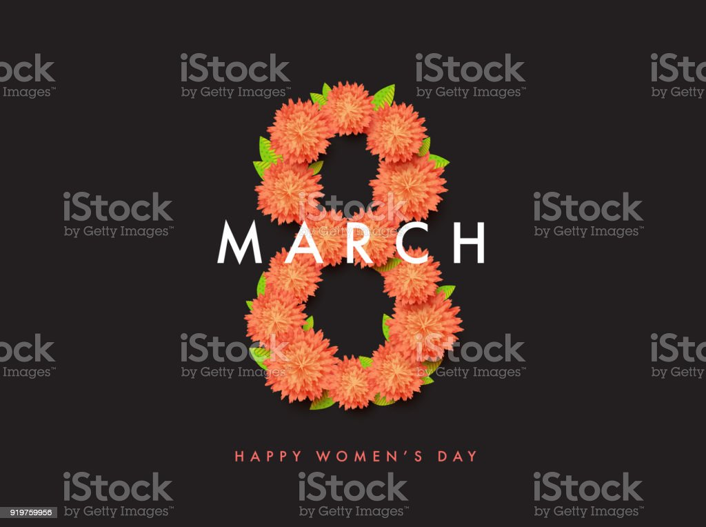 8 of March floral vector background design. Happy women day holi vector art illustration