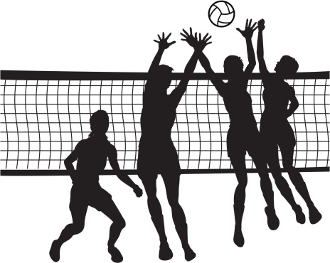 Of people jumping for volleyball in front of net