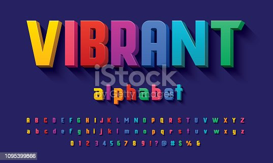 Vector of 3D bold colorful alphabet design
