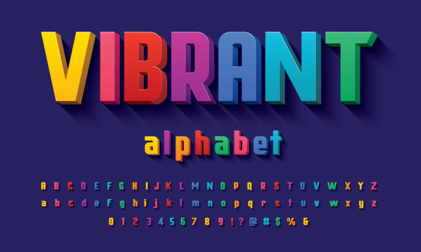 3D of the Vector of 3D bold colorful alphabet design text stock illustrations