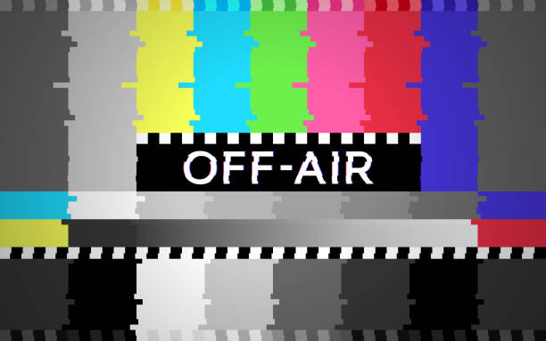 Off Air Technical Glitch Test Pattern Background Off air technical glitch background test pattern. projection screen stock illustrations