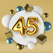 45 off discount promotion sale made of 3d gold text. Number in the form of golden balloons.Realistic spheres and cubes. Abstract background of primitive geometric figures.