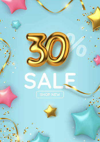 30 off discount promotion sale made of realistic 3d gold balloons with stars, sepantine and tinsel. Number in the form of golden balloons.  Vector