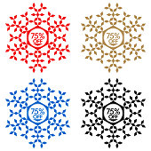 75% Off Discount Sticker. Snowflake Banner with 75% Off Sale