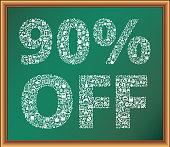 90% Off Educational Icon in Chalk on Blackboard