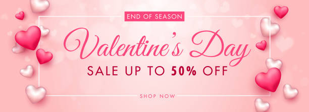 UP TO 50% Off for Valentine's Day Sale Header or Banner Design Decorated with 3D Hearts. vector art illustration