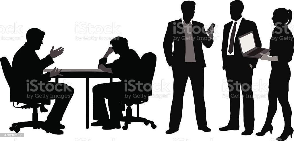 Off Hours Office Workers vector art illustration