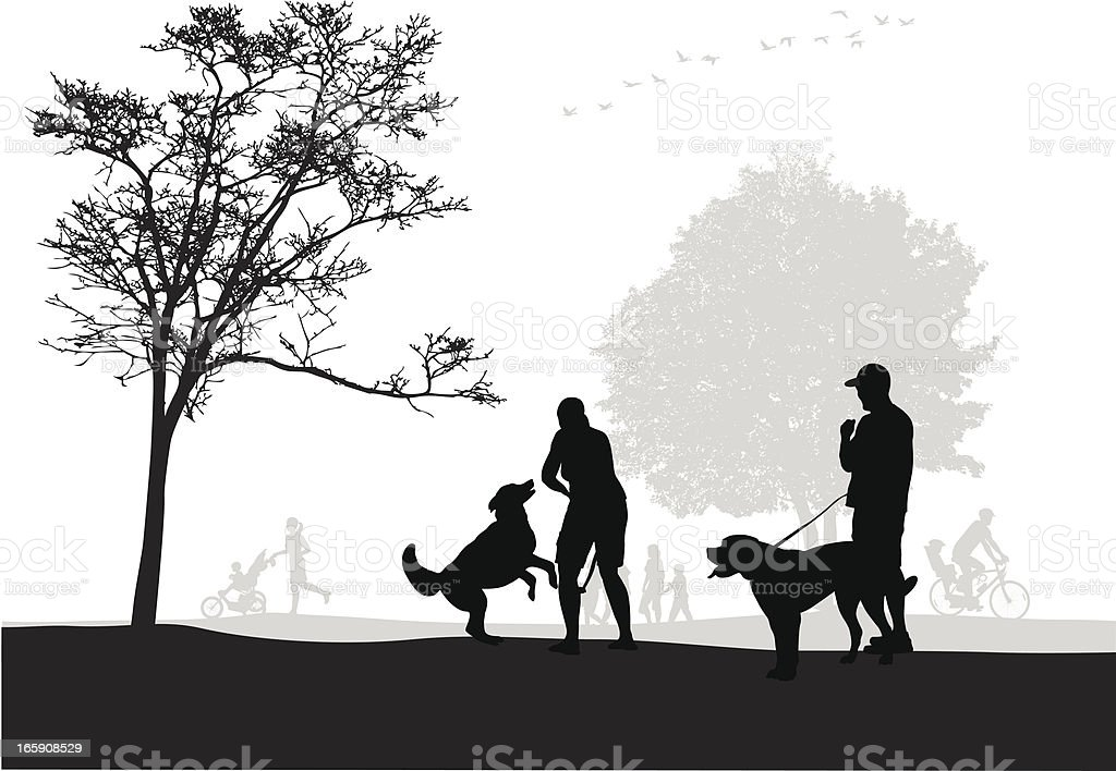 Off Leash Vector Silhouette royalty-free stock vector art