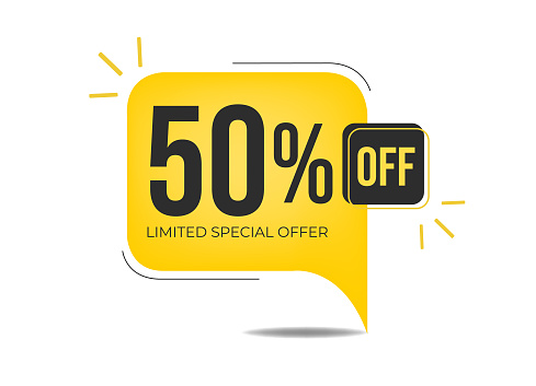 Banner with fifty percent discount on a yellow square balloon.
