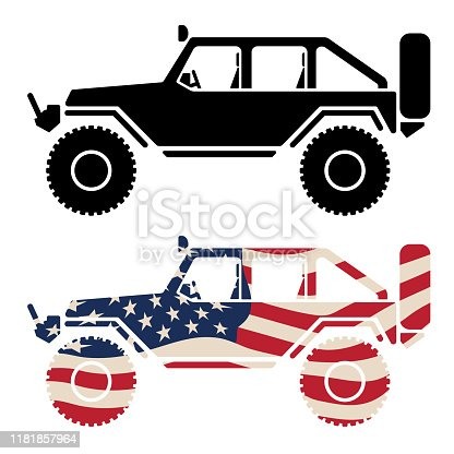 Sharp illustration of a lifted 4x4 offroad vehicle, rock crawler with big tires, clean simple lines, in both American stars and stripes and black, isolated vector graphic for easy editing.