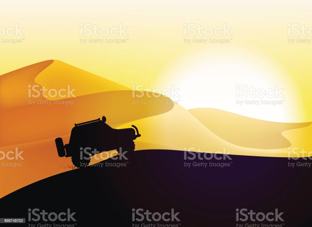 Off road car and desert dunes sunset landscape. vector art illustration