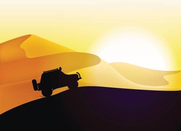 Off road car and desert dunes sunset landscape. vector art illustration