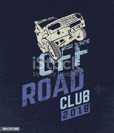Off-road Club logo. Extreme competition emblem. Off-roading suv adventure and car event design elements. Beautiful vector illustration in blue and violet color isolated on a dark textured background.