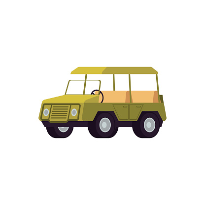 Off road car for safari tour and traveling flat vector illustration isolated.