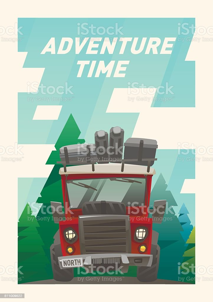 Off road full loaded adventure car card. Forest background vector art illustration