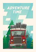 Off road full loaded adventure car card. Forest background
