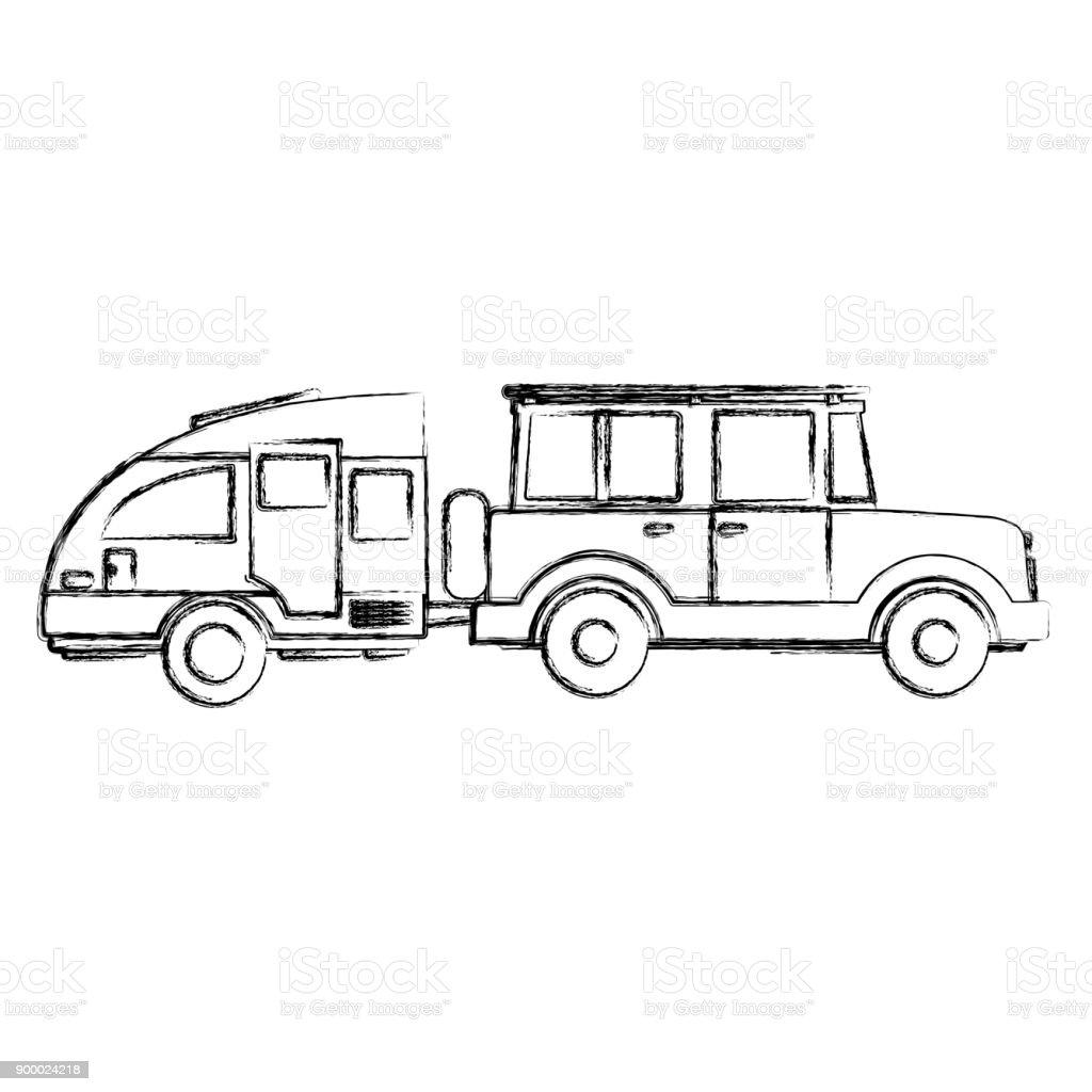 Fuera De Camiones Por Carretera De Deporte Con Remolque Caravana ...