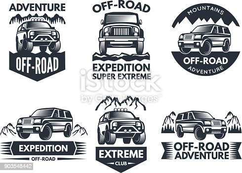 Off road symbols. Labels with 4x4 truck. s or labels with suv cars. Automobile car , transport for travel emblem off-road. Vector illustration