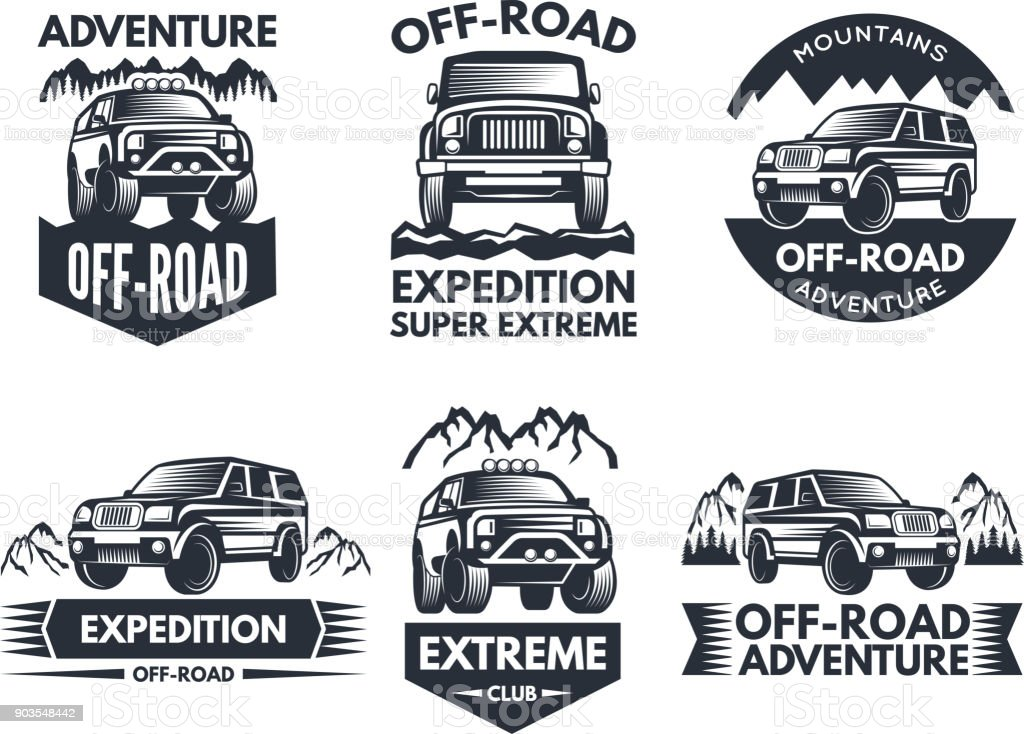 Off road symbols. Labels with 4x4 truck. s or labels with suv cars vector art illustration