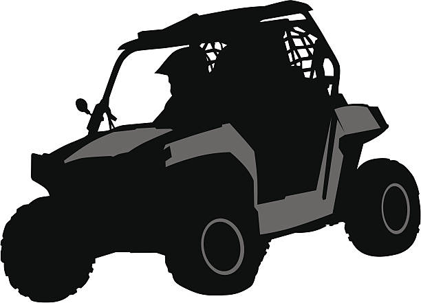Off road Silhouettes athletes ATV during races quadbike stock illustrations
