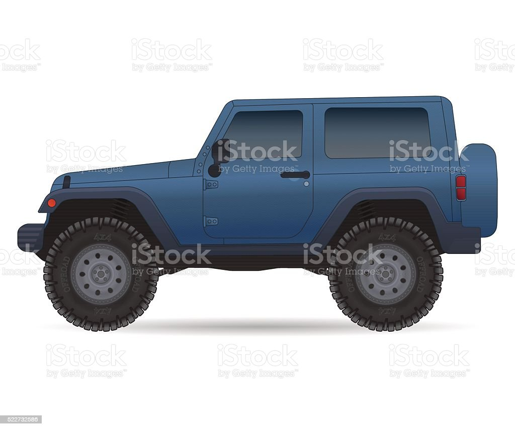 Off road vehicle, car for bad roads vector art illustration