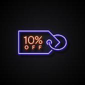10% Off Sale Badge Neon Style, Design Elements