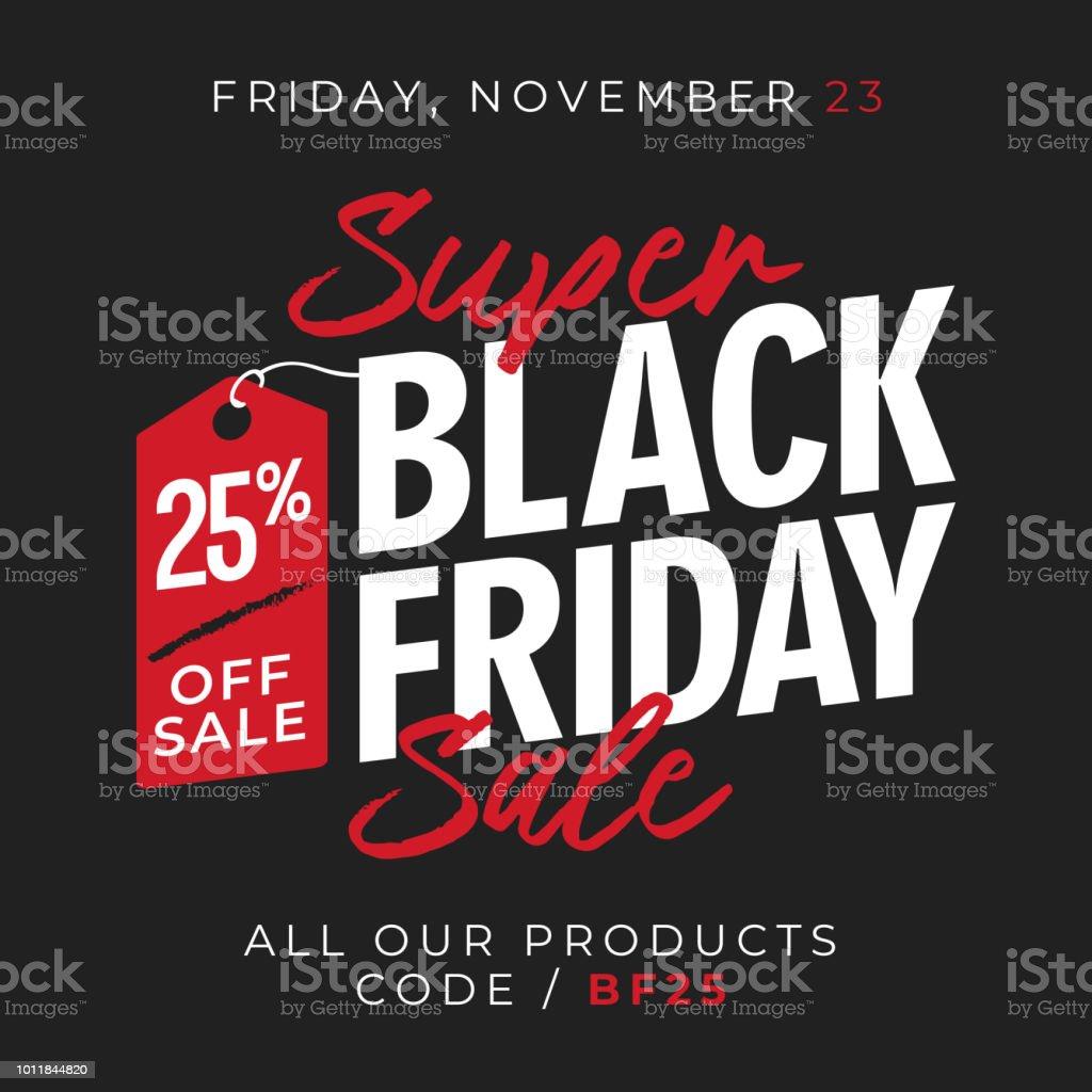 25% off sale black friday super sale banner background with price tag symbol. online shop flyer promotion template design. vector illustration. vector art illustration