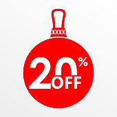 20% off sale. Christmas and New year ball with price off or discount tag design template. Vector illustration.