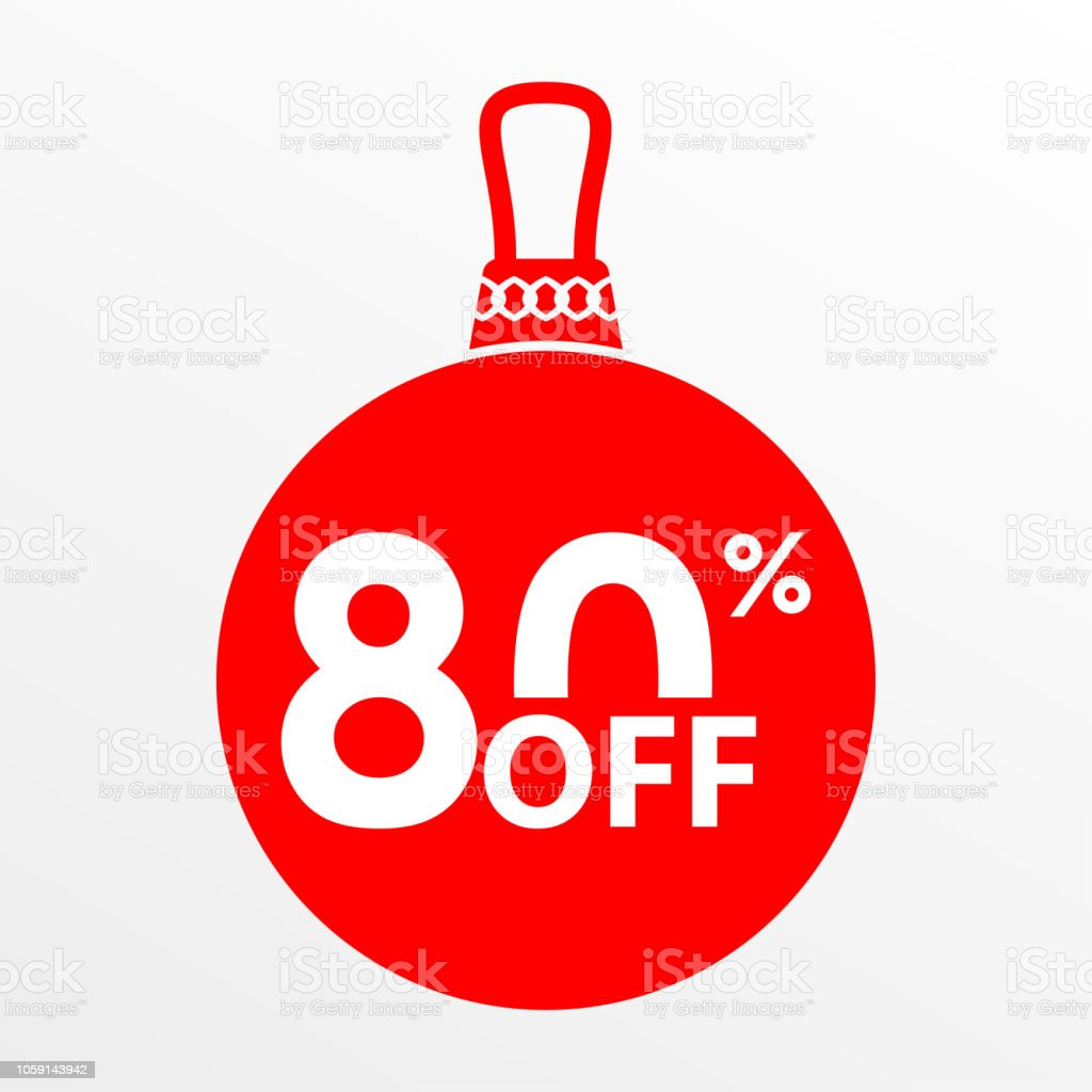 80 off sale christmas and new year ball with price off or discount