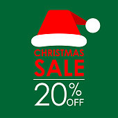 20% off sale. Christmas sale banner and discount design template with Santa Claus hat. Vector illustration.