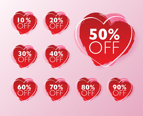 50% off sale tags. Set of 10% through 90% off Red brash painted heart shape labels for sale promotional marketing.