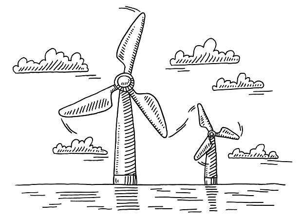 Off Shore Wind Turbines Drawing Hand-drawn vector drawing of a Off Shore Seascape with two Wind Turbines. Black-and-White sketch on a transparent background (.eps-file). Included files are EPS (v10) and Hi-Res JPG. environment stock illustrations