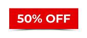 50% off - Sticker, Banner, Label, Ribbon Template. Vector Stock Illustration