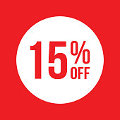 Red Shop Vector Sticker Sign For 15% Clearance Off